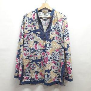 Michael Kors long sleeve paisley tunic Size 14